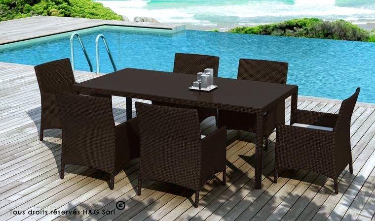 Salon de jardin table en résine tressée 8 places chocolat - capri