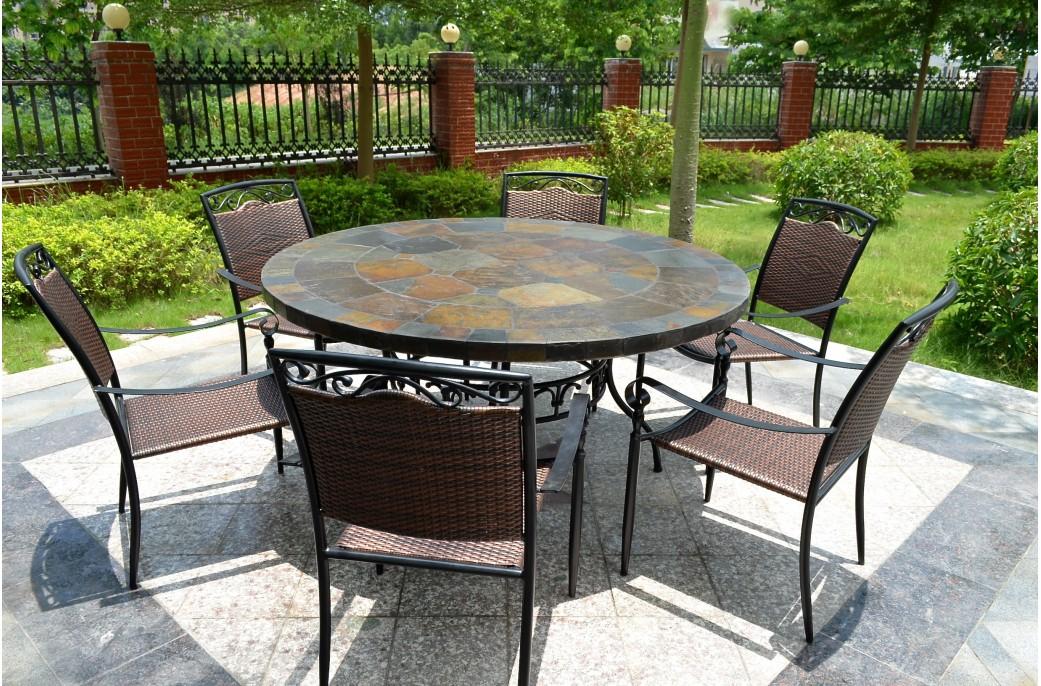 Table de salon de jardin ronde
