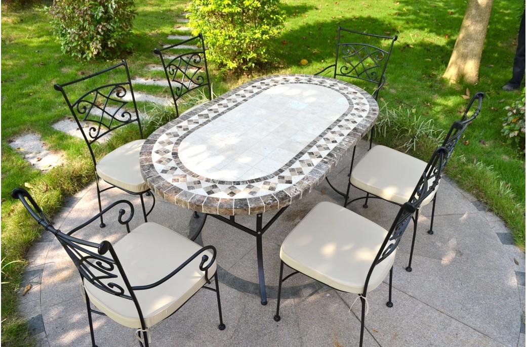 Table salon de jardin mosaique - Mailleraye.fr jardin