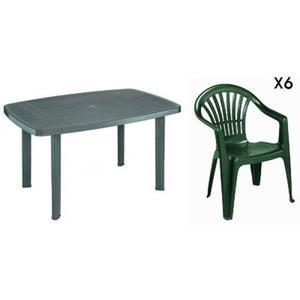 Salon de jardin table ocean + 6 fauteuils aruba coloris ...