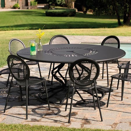 salon de jardin table ronde 6 personnes jardin. Black Bedroom Furniture Sets. Home Design Ideas