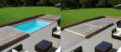 Terrasse avec piscine intégrée