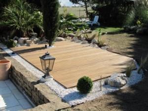 Terrasse composite gravier