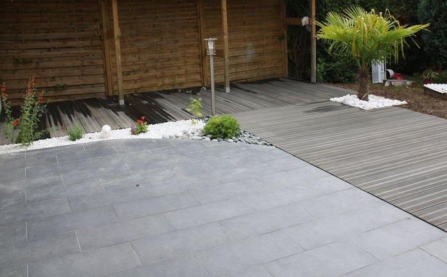 Terrasse mixte carrelage et composite