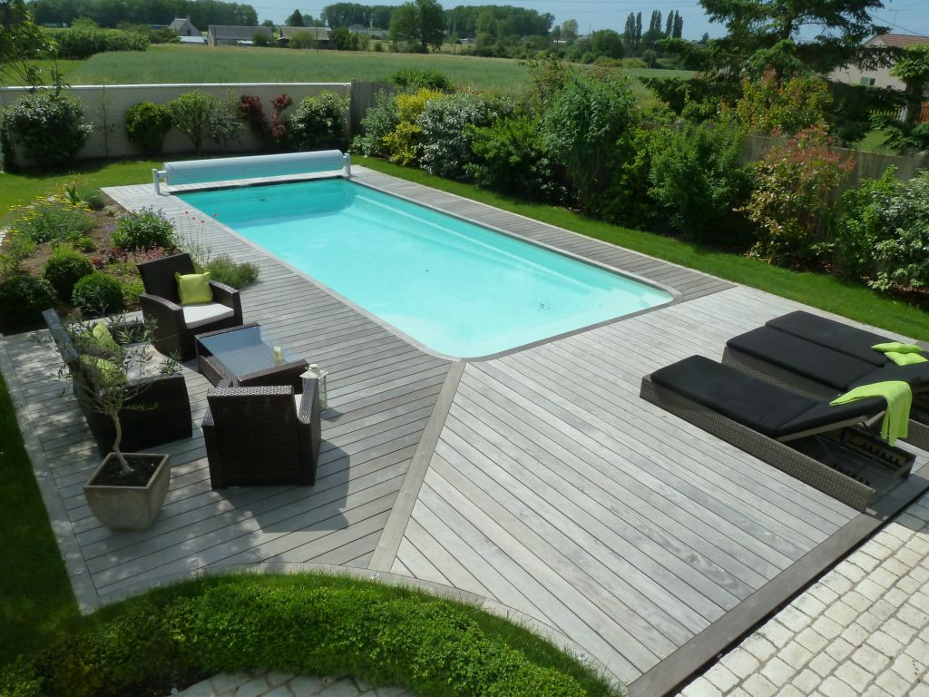 Jeune Amenagement terrasse bois autour piscine - Mailleraye.fr jardin HP-72
