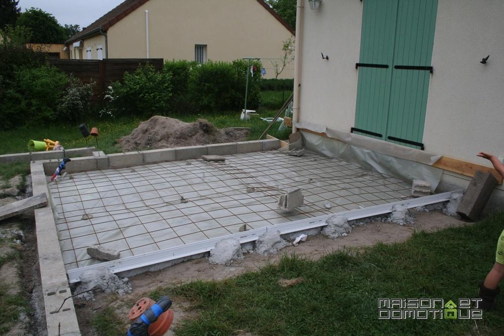 Terrasse beton construction neuve