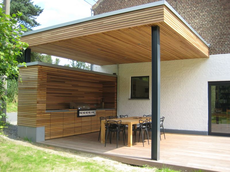Terrasse couverte bois verre