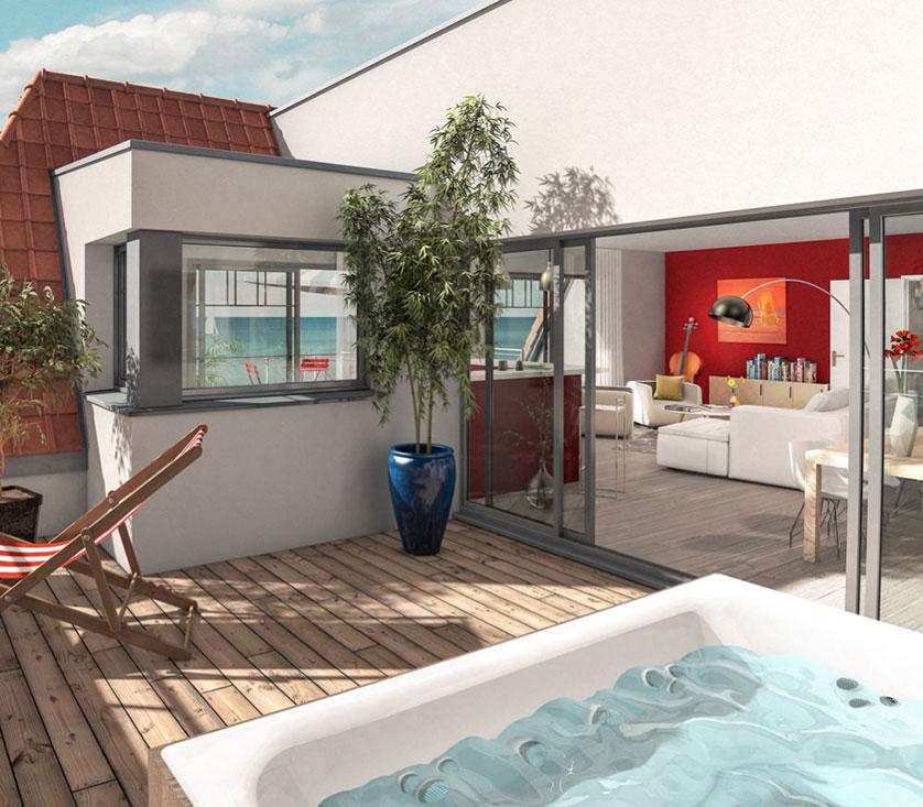 Appartement avec terrasse vue mer hardelot